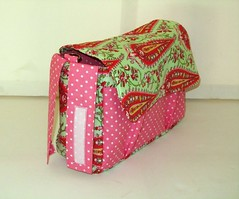 Stroller Pram Bag Caddy (Tracey Lipman) Tags: pink boy baby green love girl bag toddler babies amy handmade stroller nappy polka dot diaper attachment fabric butler etsy tracey velcro paisley straps caddy pram adjustable lipman traceylipman
