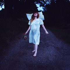 Journeys Through Dreaming (Rebecca Bentliff) Tags: selfportrait childhood darkness surreal dreaming pillow nighttime dreams timeless whimsical nightgown sleepwalking subconscious rebeccapalmer