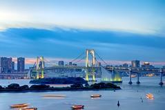 Twilight Bridge (foxystranger) Tags: longexposure sunset japan landscape tokyo pentax odaiba kr hdr