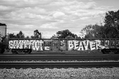 SWAMPFOOT  BEAVER (TheLost&Found) Tags: street bridge summer urban white streetart black cold west color art weather minnesota wall train bench typography photography foot graffiti midwest paint cloudy painted letters tracks cities minneapolis twin msp rail windy beaver mpls crew swamp gondola graff aerosol saintpaul exploration fails mn hc mid freight rolling aerosolart urbex hesh benched benching swampfoot