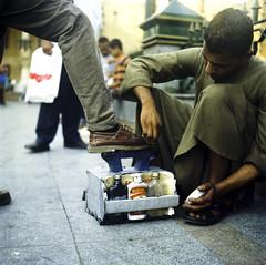 Shoe Shine (Hogarth Ferguson) Tags: film khanelkhalili yashica mat em ektar kodak tlr twinlensreflex cairo egypt egypt2012 travel africa market work labor hogarthferguson hogarth ferguson