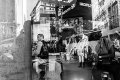 The Eyes Have It (pennuja) Tags: street new york city nyc blue bw reflection yellow corner glasses eyes manhattan candid drinking stranger fin