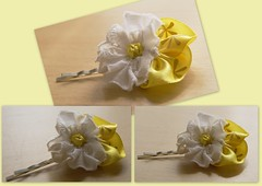 Pansy hair flower yellow & white (UpcycledDelights) Tags: uk white flower yellow hair recycled pansy accessories hairclips hairclip grips hairgrip bobbypin upcycled hairflower kirbygrip hairflowerclip upcycleddelights ukcraftersonetsy
