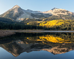 Lost Lake (glness) Tags: autumn reflection fall colors yellow colorado colours aspen lostlake crestedbutte gunnisonnationalforest westelkwilderness westelkrange gregness