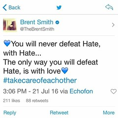 Via @TheBrentSmith: You will never defeat Hate, with Hate... The only way you will defeat Hate, is with love #takecareofeachother #shinedown #brentsmith (ShinedownsNation) Tags: zach eric bass nation smith barry brent myers shinedown kerch shinedowns