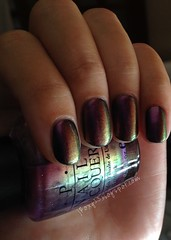OPI Movin' Out over Marc Jacobs 200 Blacquer 1 (jRoxy13) Tags: marcjacobs opi nailpolish shimmer duochrome multichrome holidayonbroadway rainbow pink blacquer black