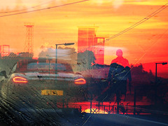TEMOR/FEAR (Poppy ♥ Cocqué ♫) Tags: outside man friend dungeness sunset wow colours colourful bright intense car walking pylons windmills power electricity contrast poem prose poetry soundtrack quote quotation poppy appoppy ap friendship fear temor sade thesweetesttaboo centralparksong zacklove light lighting lights streetlamps compilation collage art artwork workofart catharsis cathartic emotions expressions surreal surrealism surrealistic htt happytelegraphtuesday