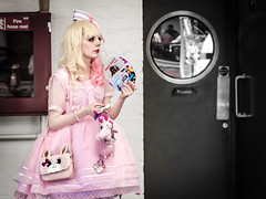 Kawaii Accessories (Corbicus Maximus) Tags: london kensington olympia hyper japan 2016 festival door private girl blonde pink hair dress kawaii keyring bag handbag sheep fluffy cuddly bunny bow hat curl lipstick eyeliner makeup lace pale skin cute whiskers