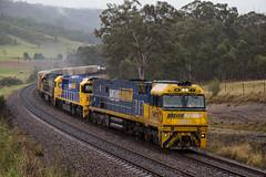 "2016-08-24 Pacific National NR11-8202-NR21 Shiels Hill 3BM4 (Dean ""O305"" Jones) Tags: razorback newsouthwales australia au 3bm4 nr11 8202 nr21 pacific national intermodal container train shiels hill main south line nsw maldon rain"