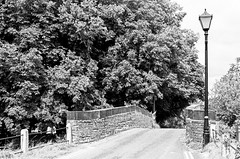 Bridge and Lamp (MCorrigan1983) Tags: jch400 streetpan 2016 bw dunhammassey jchstreepan400 nikkor50mmf14ais nikonfe2 bridge