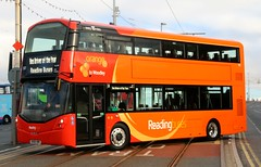 Reading Buses Wright StreetDeck 901 SK66HRR crosses the tram tracks in Blackpool at the Bus Driver of the Year finals 2016. (Gobbiner) Tags: wright reading 901 blackpool sk66hrr streetdeck bdoy woodley