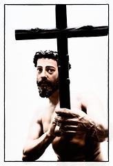 Statue of Saint Holding Crucifix (B. Gohacki) Tags: seville sevilla spain espana saint statue religious catholic christian statuary sculpture pentax k1 dslr ricoh carlzeiss t planar 50mm f17 spanish medieval painted holy iconography beard cross