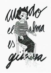 cuando el alma es gitana (janeherkenhoff) Tags: alma gitana gypsy soul nomad illustration chair girl stripes plant short hair shoes