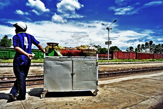 late trains (e.nhan) Tags: blue sky trains vietnam late phanrang enhan ninhthuan trainstationthapcham