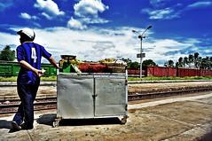 late trains (e.nhan) Tags: blue sky trains vietnam late phanrang enhan ninhthuan trainstationthapcham