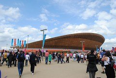 The cycling legends at the Velodrome (zawtowers) Tags: park blue chris roof sky london wednesday cycling warm sunny august games hoy olympic olympics sir curved legend olympicpark velodrome 8th stratford winning 2012 london2012