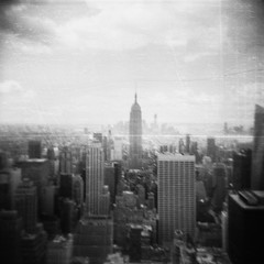 Manhattan (The Rune Project) Tags: white black building 120 6x6 rock analog square toy holga state top manhattan center plastic empire medium format rockefeller