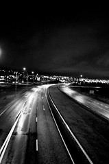 (Steini789) Tags: road city bw night lights blackwhite iceland reykjavk