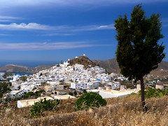 Scenic hill town (Marite2007) Tags: sky panorama nature architecture amazing scenery view hill scenic picture hellas greece picturesque hilltop cyclades cycladic