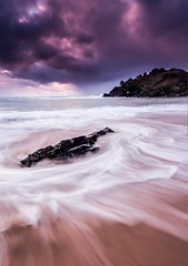 Incoming Storm (James.McGregor) Tags: ocean longexposure light sunset seascape storm beach beautiful clouds sunrise canon dark point landscape dawn james coast scary moody colours dusk dramatic evil stormy coastal nsw newsouthwales coastline hastings colourful northern byronbay fury tides headland goldcoast 1740l mcgregor kingscliffe cabarita fingalheads