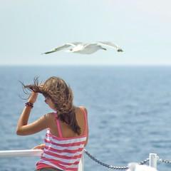Yet another reason to love summer! (www.digart.gr) Tags: sea summer woman nature girl beautiful beauty fun boat nikon ship gull greece tamron tamronaf70300mmf456dildmacro d7000