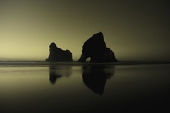 Ghostly Wharariki (Tim Bow Photography) Tags: sunset reflection beach rock landscape golden british welsh tasman powerful svenska goldenbay wharariki whararikibeach newzealandnz timboss81 timbowphotography archwayrock