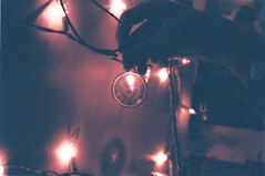 LIGHTS (Kirk Martyn) Tags: christmas film glass 35mm canon vintage dark fun person lights holidays shiny shadows hand darkness ae1 cords fingers scratches faded wires meaning
