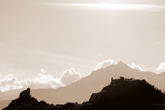 sion in sepia (overthemoon) Tags: mountains castles sepia clouds schweiz switzerland suisse explore svizzera sion valais tourbillon valre romandie 453 besofr