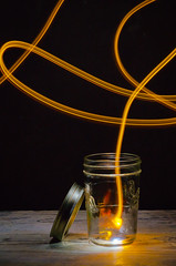 Great Firefly Escape (Alan Drake) Tags: light colour glass yellow 50mm nikon paint jar lid d7000