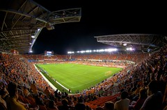 Dynamo at Night (Tom Haymes) Tags: night texas soccer houston fisheye houstontexas mls columbuscrew majorleaguesoccer mlssoccer soccerstadium houstondynamo bbvacompassstadium