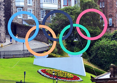 Olympic Rings - Edinburgh (Emz.watson) Tags: flowers blue trees red summer plants black green london festival bronze silver gold scotland nikon scenery edinburgh stadium ceremony scottish competition fringe running racing medal celebration flame torch rings bolt greenery athletes olympics bagpipes 2012 paralympics competing olympian emilywatson usain nikond3100