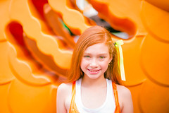 (Isai Alvarado) Tags: light red portrait orange cinema blur film girl smile wall hair movie fun fire kid model hands nikon focus dof child play arms legs bokeh stock dream 85mm ground cine stairway merida short brave lovely cinematic redhair dany softlight d800