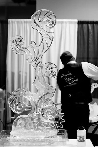 Steampunk base of ice sculpture for competition at the Potawatomi Casino 2012