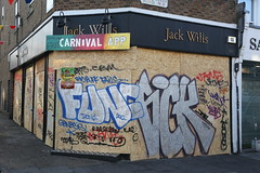 Func, Sick (SReed99342) Tags: uk carnival windows england streetart london shop graffiti store aftermath board storefront sick nottinghill shopfront plywood func jackwillis