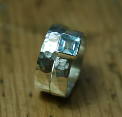 Textured Silver Ring with 5mm Sky Blue Topaz (Victoria Jarman Jewellery) Tags: silver ring paleblue textured topaz