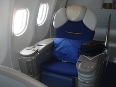 My seat home on Lufthansa, sort of like Captain Kirk's chair