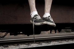 waitin' on love (CraigHarris | Media) Tags: train shoes waiting vans untied
