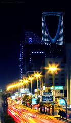 Kingdom Tower - King Fahad Road | طريق الملك فهد,برج المملكة (Abdulrahman Tabba'a) Tags: road city light tower cars night king trails kingdom saudi arabia riyadh fahad برج ksa السعودية الرياض المملكة طريق الملك فهد