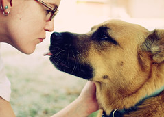 Mother and Son (SOMETHiNG MONUMENTAL) Tags: family portrait rescue dog pet selfportrait love nikon kiss d60 somethingmonumental mandycrandell