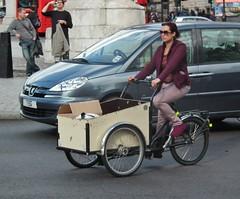 Purple 'Dot' Delivery Girl (kenjonbro) Tags: uk england woman london westminster lady female cyclist tricycle trafalgarsquare belle charingcross sw1 threewheeler deliverygirl kenjonbro fujifilmfinepixhs10 bicyclebelle