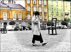Jewish Ghetto Heroes Square, Krakow (Bluray1878) Tags: people blackandwhite bw chairs candid streetphotography poland krakow selectivecolour urbanstreetlife jewishghettoheroessquare