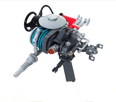 Drone (aabbee 150) Tags: red robot search lego turquoise 150 combat mecha mech destroy drone bley aabbee aabbee150