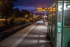 Barkarby Station (Adam Haranghy) Tags: sky green station night train booth fuji shot nacht stockholm railway zug bahnhof finepix commuter bahn hof nachtaufnahme x100 barkarby aufnahme pendeltag