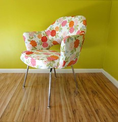 Mid Century Floral Upholstered Saarinen Chair (Circa Furniture) Tags: floral vintage furniture retro etsy midcenturymodern upholstered shabbychic eamesera
