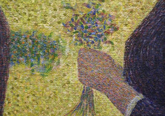 Seurat, A Sunday on La Grande Jatte—1884, detail with bouquet