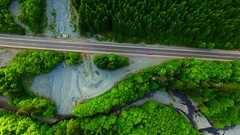 Forested, Deforested, Reforested 2 (Dan Beland) Tags: road canada green art nature creek forest river rainforest artistic britishcolumbia vibrant aerial fromabove vancouverisland landslide northamerica verdant lush porthardy pinetrees gravel drone highway19 reforested jeepgrandcherokee portmcneill islandhighway deforested northernvancouverisland redpickuptruck forested dji quadcopter phantom3professional