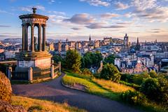 Golden city (kleptografy) Tags: uk scotland edinburh sunset city cityscape monument oldtown castle clock tower sky summer golden hill view