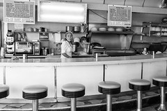 Just Opened (Ben at St. Louis Energized) Tags: stl stlouis delmarloop universitycity ucitygrill diner barstools cafe koreanfood blackandwhite monochrome