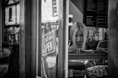 were open (Daz Smith) Tags: dazsmith canon6d bw blackwhite blackandwhite bath city streetphotography people candid canon portrait citylife thecity urban streets uk monochrome blancoynegro open sign window door reflection womna counter shop