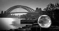 Crystal ball harbour (Martin Snicer Photography) Tags: bw sydney australia harbourbridge barangaroo crystalball travel 6d longexposure ndfilter canon composition capture artistic bulb